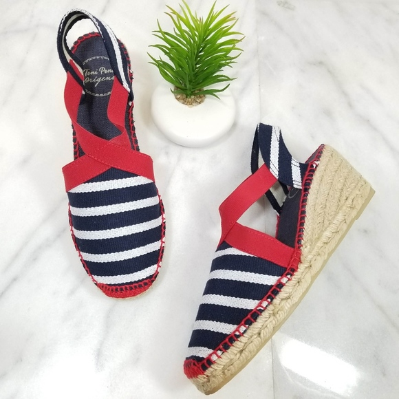 4ed2b93a9c0 TONI PONS Tarbes Wedge Espadrille Red Blue Sandals